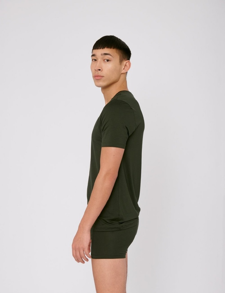 T-shirt col V Soft Touch - Dark Green