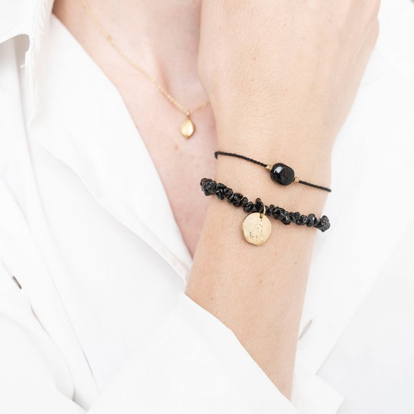 [ABS-BL22474] A Beautiful Story | Bracelet Gemstone - Black Onyx Gold