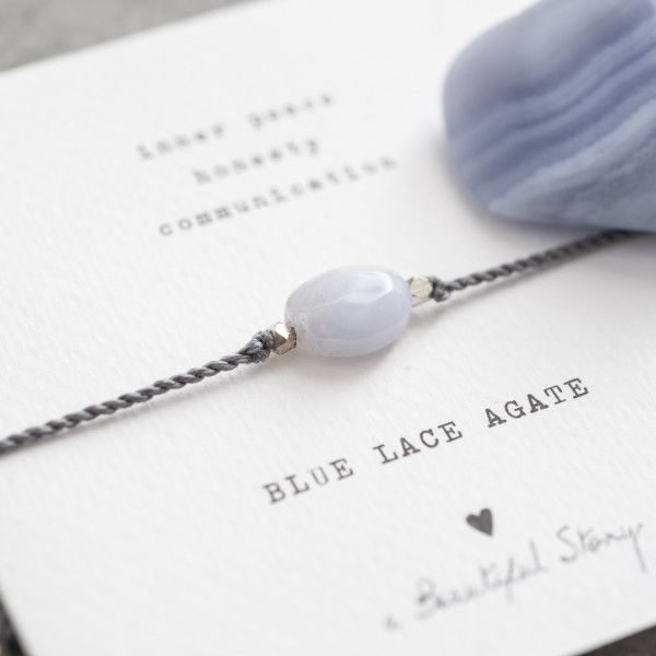 [ABS-BL22574] A Beautiful Story | Bracelet Gemstone - Blue Lace Agate Silver