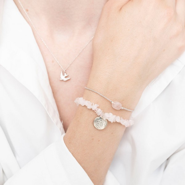 [ABS-BL22274] A Beautiful Story | Bracelet Gemstone - Rose Quartz Silver