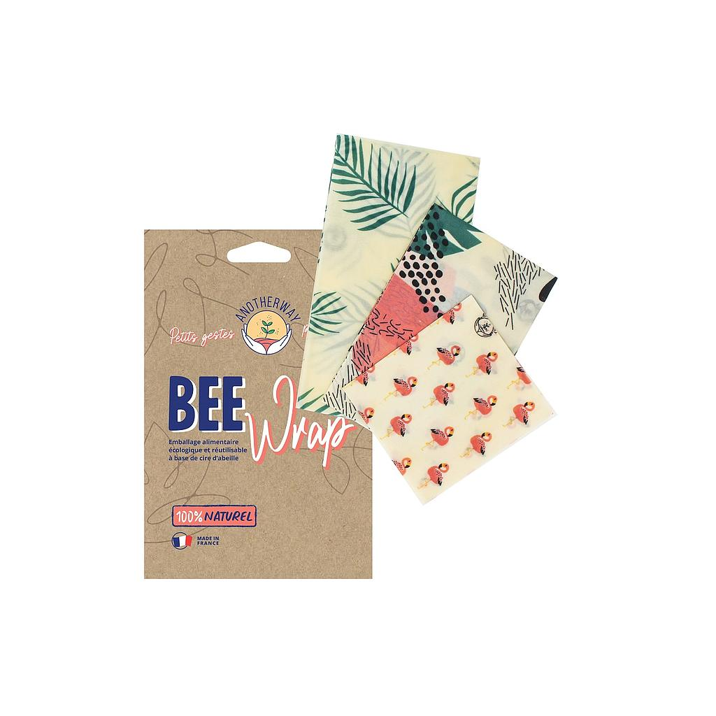 [MBW-BWC006] Another Way | Lot de 3 emballages réutilisables Bee Wrap - Tropical - SML